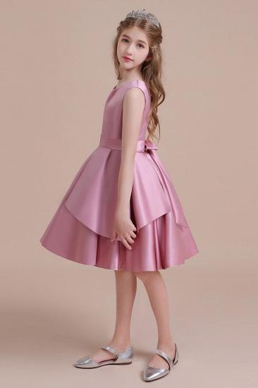 BMbridal A-Line Best Satin Knee Length Flower Girl Dress Online_7