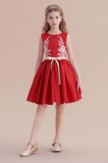 BMbridal A-Line Affordable Appliques Satin Flower Girl Dress Online_4