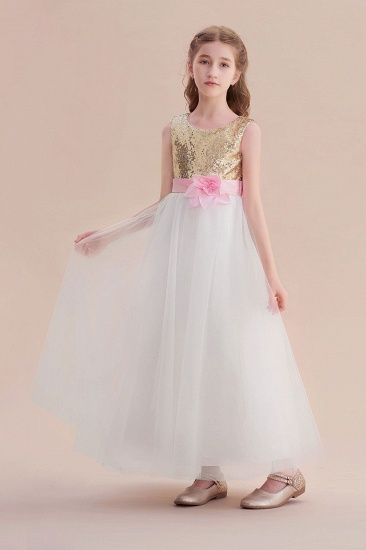 BMbridal A-Line Sequins Tulle High-waisted Flower Girl Dress On Sale_1