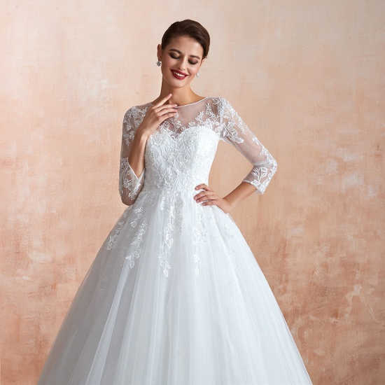 Affordable Lace Jewel White Tulle Wedding Dresses with 3/4 Sleeves_10