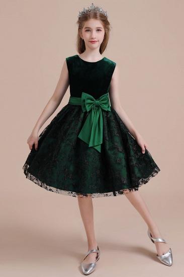 BMbridal A-Line Lace Velvet Knee Length Flower Girl Dress Online_8