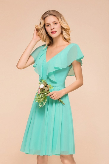 Chic V-Neck Ruffle Chiffon Short Affordable Bridesmaid Dresses Online_6