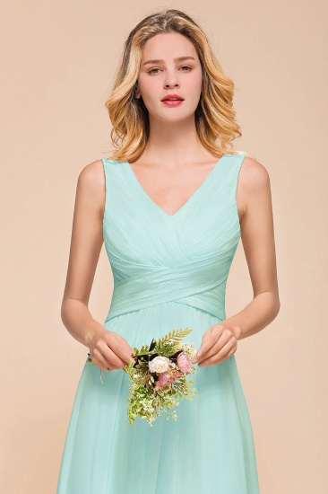 Chic V-Neck Sleeveless Mint Green Bridesmaid Dresses with Ruffle_7