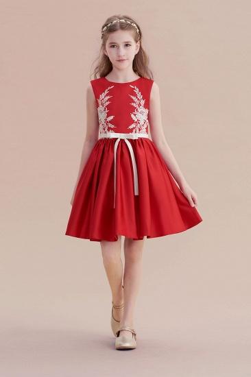 BMbridal A-Line Affordable Appliques Satin Flower Girl Dress Online_1