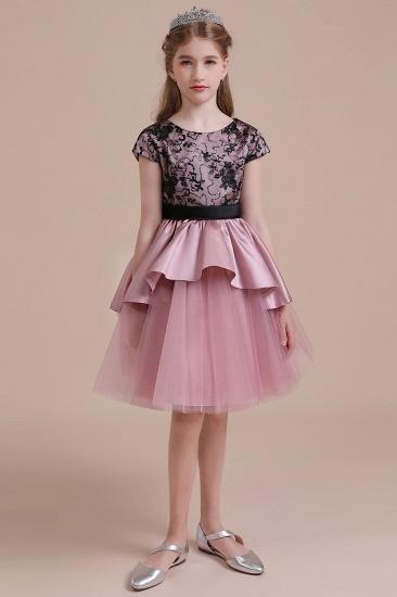BMbridal A-Line Cap Sleeve Lace Tulle Knee Length Flower Girl Dress On Sale_5
