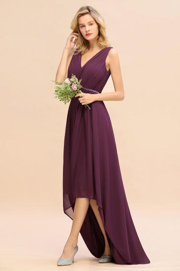 Chic Hi-Lo V Neck Ruffle Bridesmaid Dress with Beading Sash_5