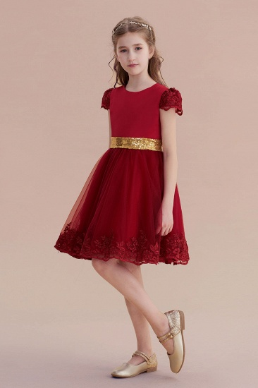 BMbridal A-Line Cap Sleeve Bow Knee Length Flower Girl Dress Online_4
