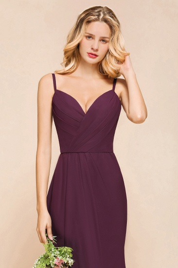 Fantastic Spaghetti Straps V-Neck Grape Bridesmaid Dress with Ruffle_7