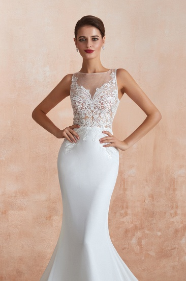 BMbridal Beautiful Mermaid V-Neck White Lace Wedding Dresses Affordable Online_8