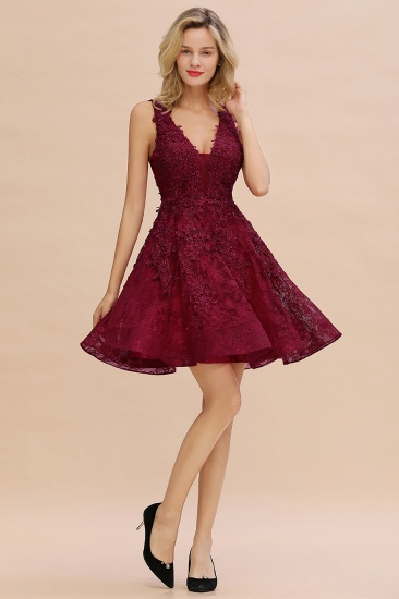 BMbridal Burgundy Sleeveless Lace Short Prom Dress Mini Party Gowns Online_19