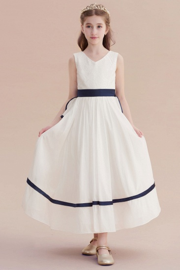BMbridal A-Line Chic V-neck Lace Ankle Length Flower Girl Dress Online