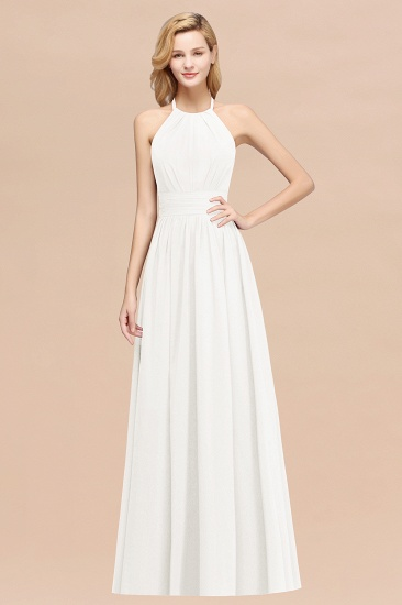 Elegant High-Neck Halter Long Affordable Bridesmaid Dresses with Ruffles_2