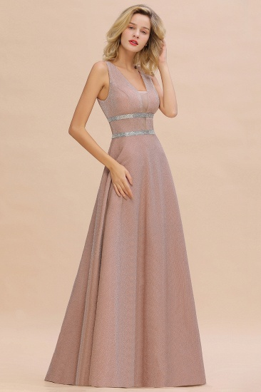 Shinning V-Neck Sleeveless Long Prom Dress Online With Zipper Back_9