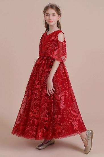 BMbridal A-Line V-neck Tulle Cold-shoulder Flower Girl Dress On Sale_4