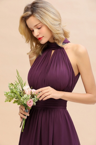 Glamorous High-Neck Halter Bridesmaid Affordable Dresses with Ruffle_57