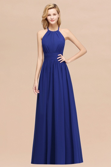 Elegant High-Neck Halter Long Affordable Bridesmaid Dresses with Ruffles_26