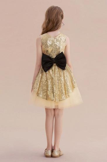 BMbridal A-Line Tulle Sequins Bows Knee Length Flower Girl Dress On Sale_3