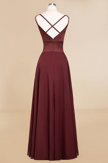 BMbridal Simple Satin Chiffon Spaghetti-Straps Burgundy Long Bridesmaid Dress_11