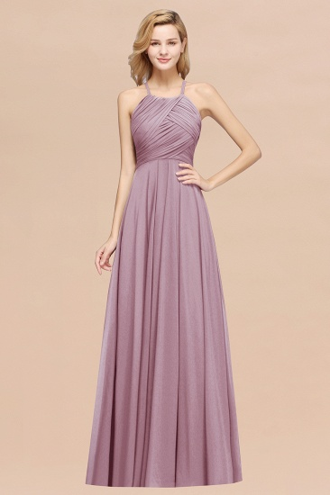Halter Crisscross Pleated Bridesmaid Dress Blue Chiffon Sleeveless Maid of Honor Dress