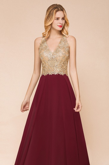 BMbridal Gorgeous V-Neck Burgundy Prom Dress Long Sleeveless Evening Gowns With Appliques_12