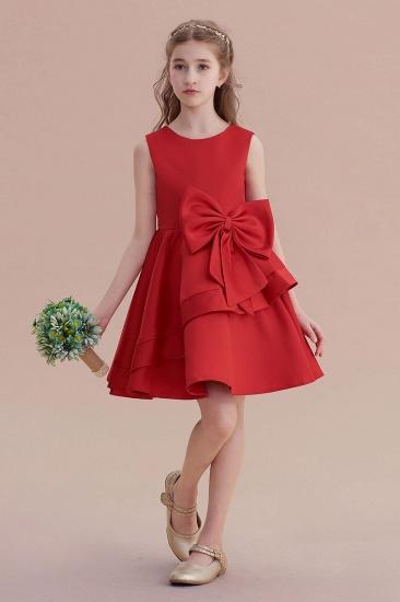 BMbridal A-Line Chic Bow Satin Knee Length Flower Girl Dress On Sale_1
