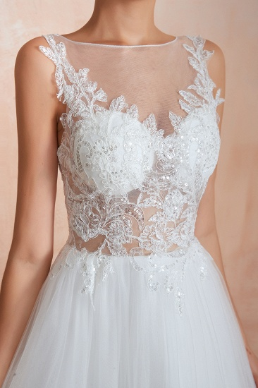 Exquisite Sequins White Tulle Affordable Wedding Dresses with Appliques_11