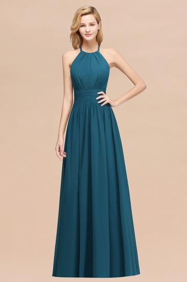 Elegant High-Neck Halter Long Affordable Bridesmaid Dresses with Ruffles_27