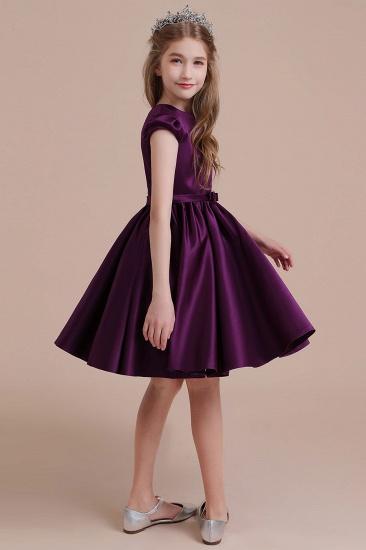 BMbridal A-Line Graceful Cap Sleeve Satin Flower Girl Dress Online_5