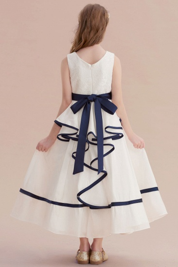 BMbridal A-Line Chic V-neck Lace Ankle Length Flower Girl Dress Online_3