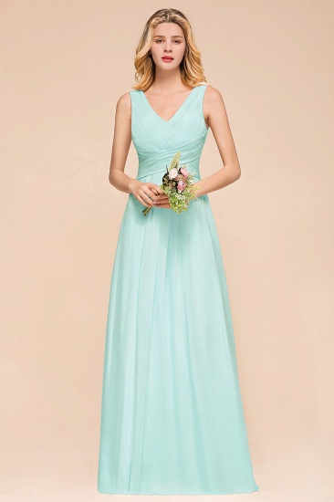 Chic V-Neck Sleeveless Mint Green Bridesmaid Dresses with Ruffle_1