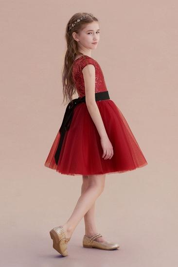 BMbridal A-Line Cap Sleeve Sequins Tulle Flower Girl Dress On Sale_3