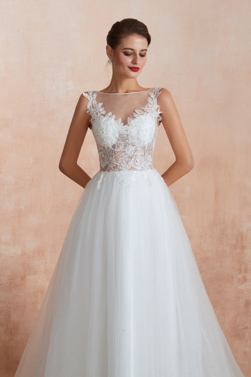 Exquisite Sequins White Tulle Cheap Wedding Dresses with Appliques_8