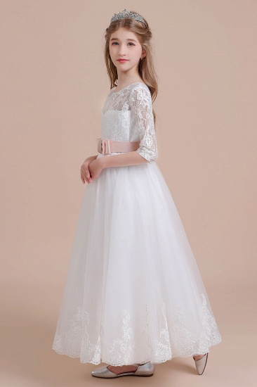 BMbridal A-Line Illusion Lace Tulle Ankle Length Flower Girl Dress On Sale_6