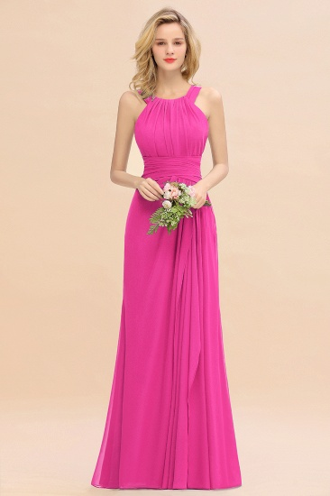 Elegant Round Neck Sleeveless Stormy Bridesmaid Dress with Ruffles_9
