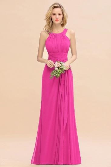 BMbridal Elegant Round Neck Sleeveless Stormy Bridesmaid Dress with Ruffles_9