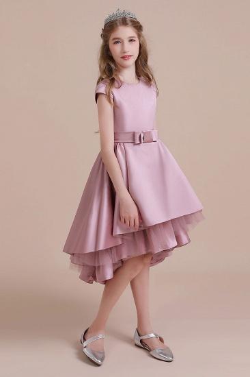 BMbridal A-Line Cap Sleeve Satin High-low Flower Girl Dress Online_5