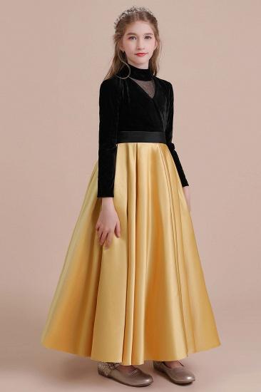 BMbridal A-Line High-neck Velvet Satin Flower Girl Dress Online_6
