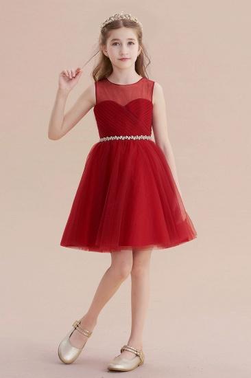 BMbridal A-Line Illusion Tulle Knee Length Flower Girl Dress Online_4