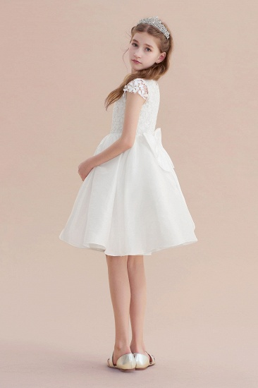 BMbridal A-Line Cap Sleeve Lace Bow Flower Girl Dress On Sale_7