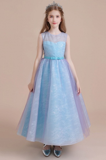 BMbridal A-Line Illusion Lace Tulle Flower Girl Dress Online