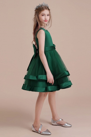 BMbridal A-Line Bow Satin Layered Tulle Flower Girl Dress Online_6