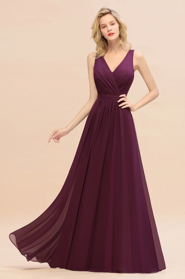 BMbridal Affordable V-Neck Ruffle Long Grape Chiffon Bridesmaid Dress with Bow_53