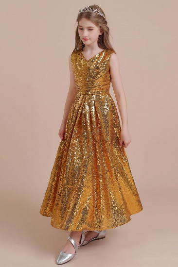BMbridal A-Line Amazing Sequins V-neck Flower Girl Dress Online_6