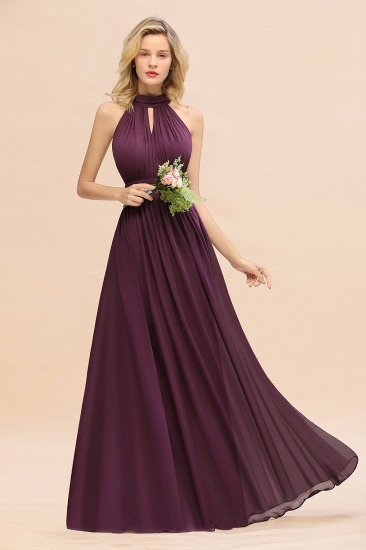 Glamorous High-Neck Halter Bridesmaid Affordable Dresses with Ruffle_55