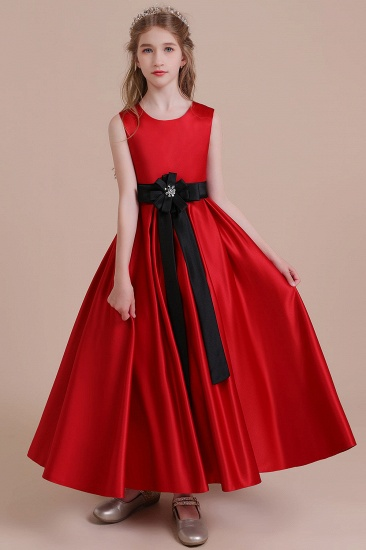 BMbridal A-Line Elegant Satin Flower Girl Dress Online_4