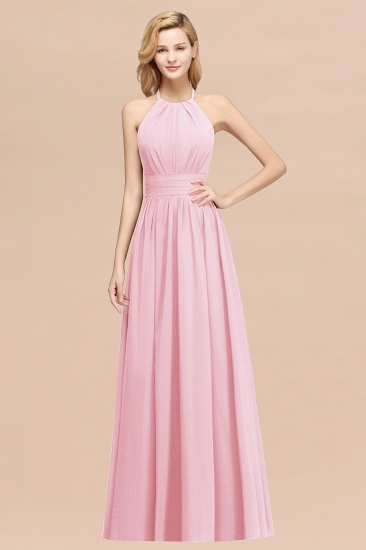 Elegant High-Neck Halter Long Affordable Bridesmaid Dresses with Ruffles_4