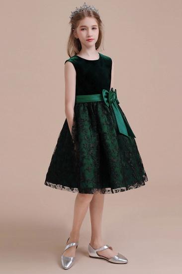 BMbridal A-Line Lace Velvet Knee Length Flower Girl Dress Online_7
