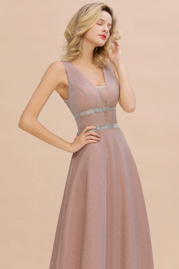Shinning V-Neck Sleeveless Long Prom Dress Online With Zipper Back_10