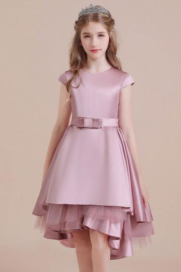 BMbridal A-Line Cap Sleeve Satin High-low Flower Girl Dress Online_8