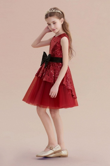 BMbridal A-Line Bows Sequins Tulle Flower Girl Dress On Sale_3